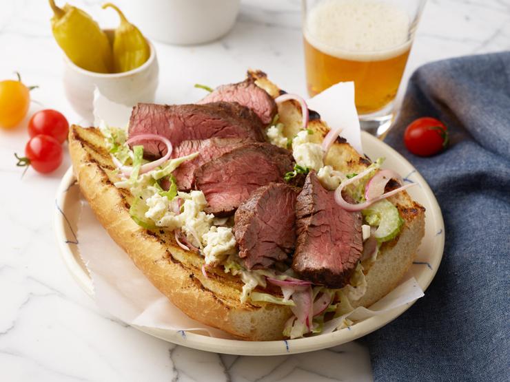 hanger steak sliced and on a sandwich